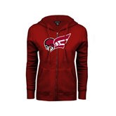 ENZA Ladies Cardinal Fleece Full Zip Hoodie-Flying Fleet Head