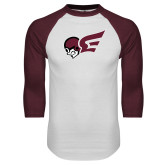 White/Maroon Raglan Baseball T Shirt-Flying Fleet Mascot
