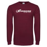 Maroon Long Sleeve T Shirt-Erskine Flying Fleet Horizontal
