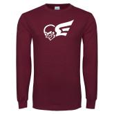 Maroon Long Sleeve T Shirt-Flying Fleet Mascot