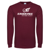 Maroon Long Sleeve T Shirt-Primary Logo Distressed