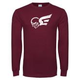 Maroon Long Sleeve T Shirt-Mascot Distressed