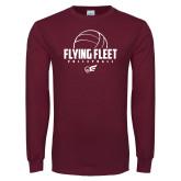 Maroon Long Sleeve T Shirt-Flying FleVolleyball