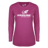 Ladies Syntrel Performance Raspberry Longsleeve Shirt-Erskine Flying Fleet Stacked
