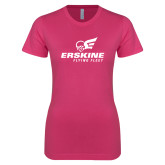 Ladies SoftStyle Junior Fitted Fuchsia Tee-Erskine Flying Fleet Stacked