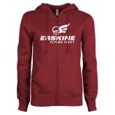 ENZA Ladies Maroon Fleece Full Zip Hoodie-Erskine Flying Fleet Stacked