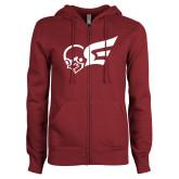 ENZA Ladies Maroon Fleece Full Zip Hoodie-Flying Fleet Mascot