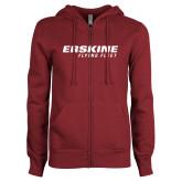 ENZA Ladies Maroon Fleece Full Zip Hoodie-Erskine College