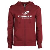 ENZA Ladies Maroon Fleece Full Zip Hoodie-Basketball