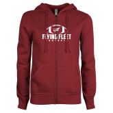 ENZA Ladies Maroon Fleece Full Zip Hoodie-Flying Fleet Football