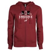 ENZA Ladies Maroon Fleece Full Zip Hoodie-Erskine Football
