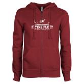 ENZA Ladies Maroon Fleece Full Zip Hoodie-Erskine Flying Fleet Football