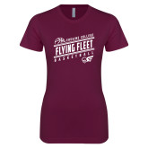 Next Level Ladies SoftStyle Junior Fitted Maroon Tee-Basketball