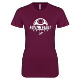 Next Level Ladies SoftStyle Junior Fitted Maroon Tee-Soccer