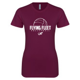 Next Level Ladies SoftStyle Junior Fitted Maroon Tee-Flying FleVolleyball