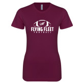 Next Level Ladies SoftStyle Junior Fitted Maroon Tee-Flying Fleet Football