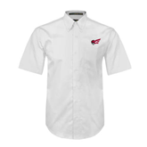 White Twill Button Down Short Sleeve-Flying Fleet Head