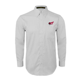 White Twill Button Down Long Sleeve-Flying Fleet Head
