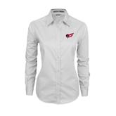 Ladies White Twill Button Down Long Sleeve-Flying Fleet Head
