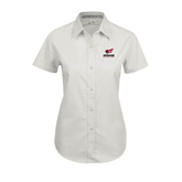 Ladies White Twill Button Up Short Sleeve-Official Logo