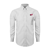 Mens White Oxford Long Sleeve Shirt-Flying Fleet Head