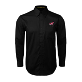 Black Twill Button Down Long Sleeve-Flying Fleet Head