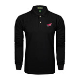 Black Long Sleeve Polo-Flying Fleet Head