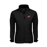 Ladies Black Softshell Jacket-Flying Fleet Head