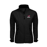 Ladies Black Softshell Jacket-Erskine w/Flying Head