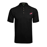 Black Easycare Pique Polo w/ Pocket-Flying Fleet Head