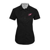 Ladies Black Twill Button Up Short Sleeve-Flying Fleet Head
