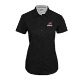Ladies Black Twill Button Up Short Sleeve-Official Logo