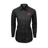 Ladies Black Tonal Pattern Long Sleeve Shirt-Flying Fleet Head
