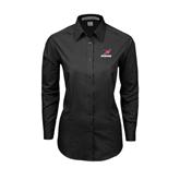 Ladies Black Tonal Pattern Long Sleeve Shirt-Erskine w/Flying Head
