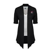 Ladies Black Drape Front Cardigan-Erskine w/Flying Head