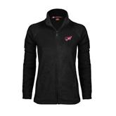 Ladies Fleece Full Zip Black Jacket-Flying Fleet Head