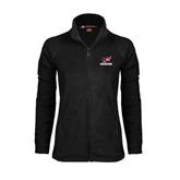 Ladies Fleece Full Zip Black Jacket-Erskine w/Flying Head