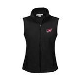 Ladies Fleece Full Zip Black Vest-Flying Fleet Head