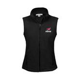 Ladies Fleece Full Zip Black Vest-Official Logo