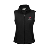 Ladies Fleece Full Zip Black Vest-Erskine w/Flying Head