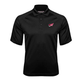 Black Textured Saddle Shoulder Polo-Flying Fleet Head