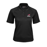 Ladies Black Textured Saddle Shoulder Polo-Official Logo