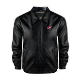 Black Leather Bomber Jacket-Flying Fleet Head