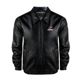 Black Leather Bomber Jacket-Official Logo