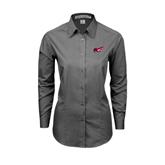 Ladies Grey Tonal Pattern Long Sleeve Shirt-Flying Fleet Head