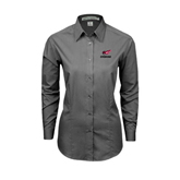 Ladies Grey Tonal Pattern Long Sleeve Shirt-Erskine w/Flying Head
