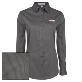 Ladies Grey Tonal Pattern Long Sleeve Shirt-Erskine Flying Fleet Stacked