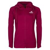 Ladies Sport Wick Stretch Full Zip Deep Berry Jacket-Erskine Flying Fleet Stacked