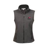 Ladies Fleece Full Zip Charcoal Vest-Erskine w/Flying Head