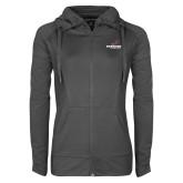 Ladies Sport Wick Stretch Full Zip Charcoal Jacket-Erskine Flying Fleet Stacked